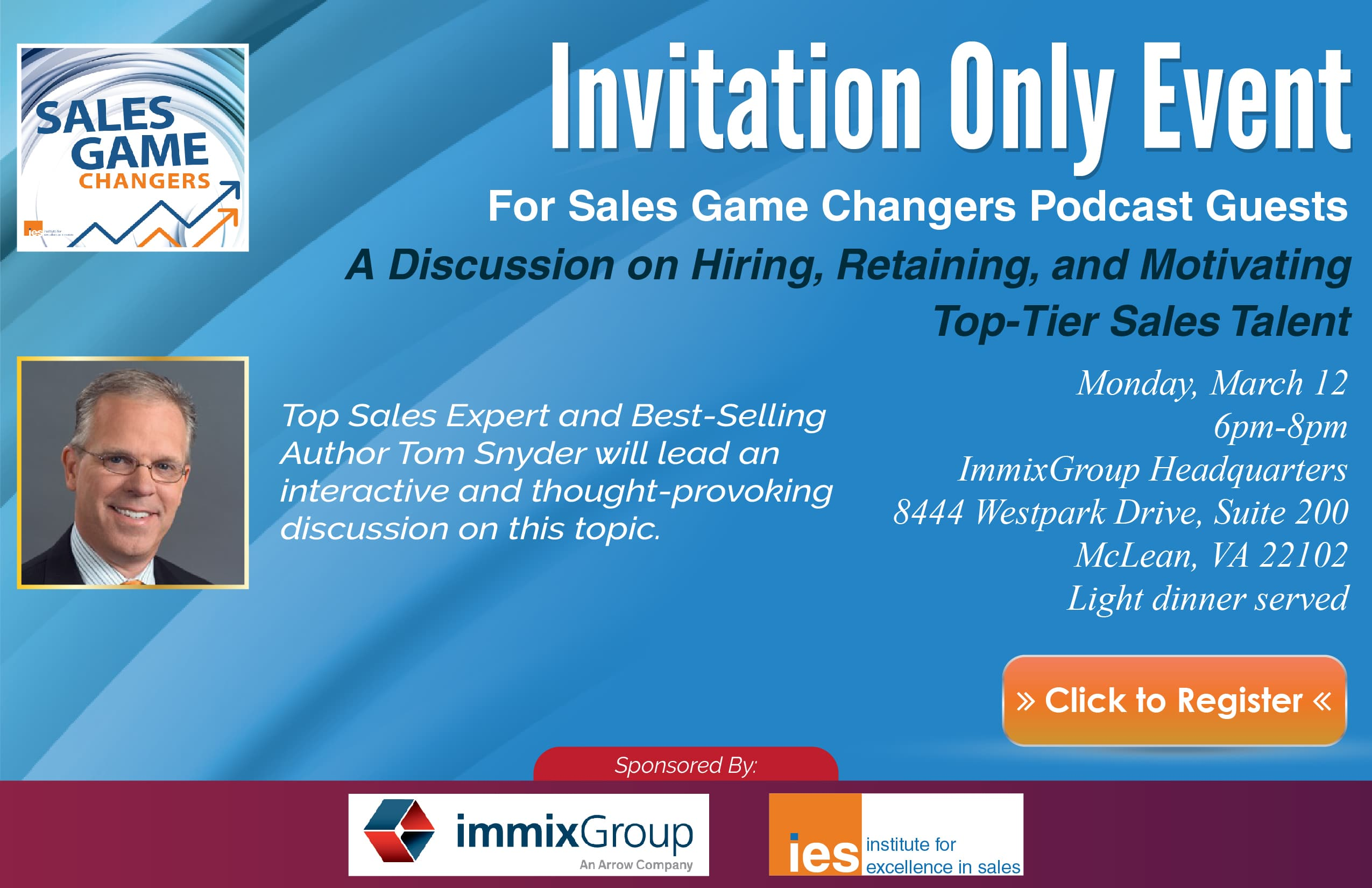 Sales Game Changers Podcast Guest Invitation Only Event March 12